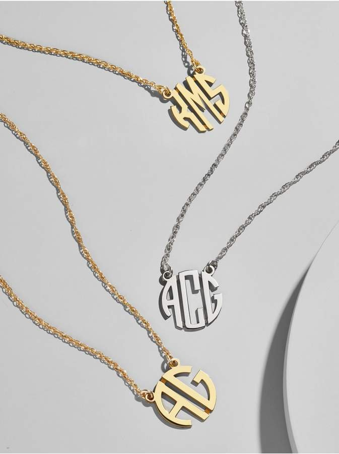 Metal Block Letter Monogram Necklace    Metal Block Letter Monogram, Available at BaubleBar.com, $115.00