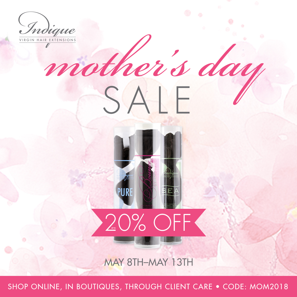 I     ndique Hair       Enjoy up to 20% off Indique Hair Extensions during the Mother's Day Sale!