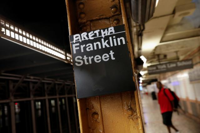A customized sign at the Franklin Street NYC subway station, bearing Aretha Franklin's name (Picture Source: Reuters)