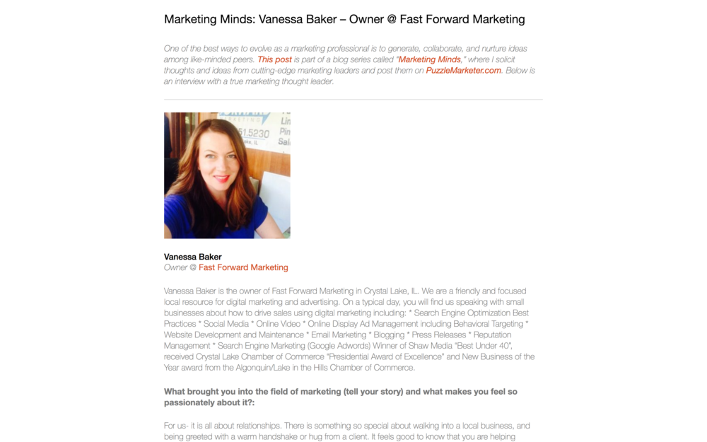 Vanessa Baker Featured on Puzzle Marketer