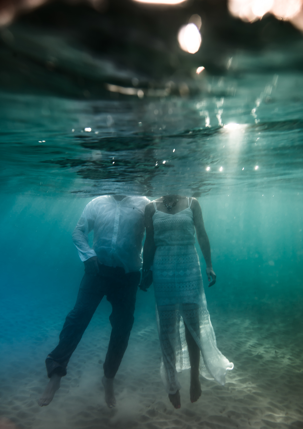 Under water wedding engagement photography