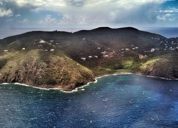 Photo shot from the plane as we made the approach into St. Thomas