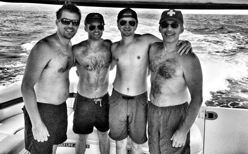 The Adams men aboard the Magic Moments yacht