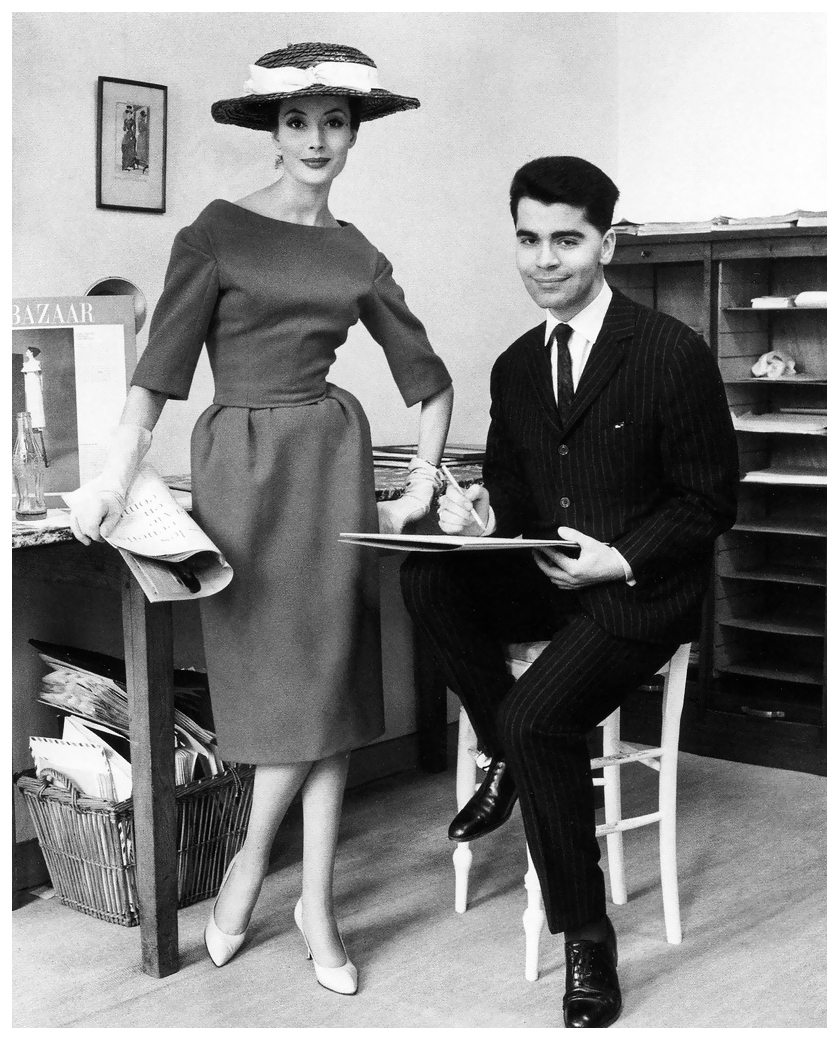 Lagerfeld with Gitta Schilling at Jean-Patous [1959]