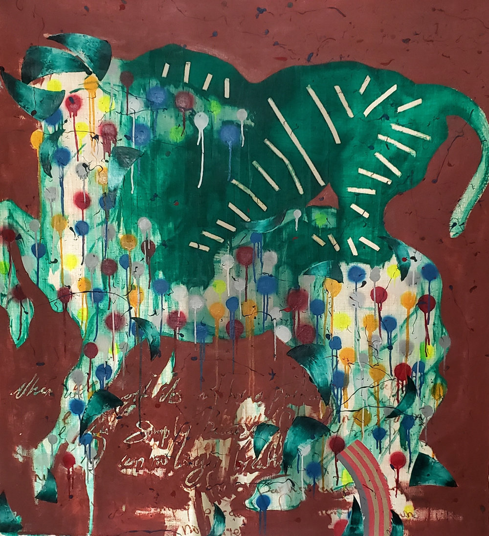'Untitled (Lion And Horse)' , 152cm x 137cm oil, oil stick, spray paint on canvas 2018, Chibuike Uzoma