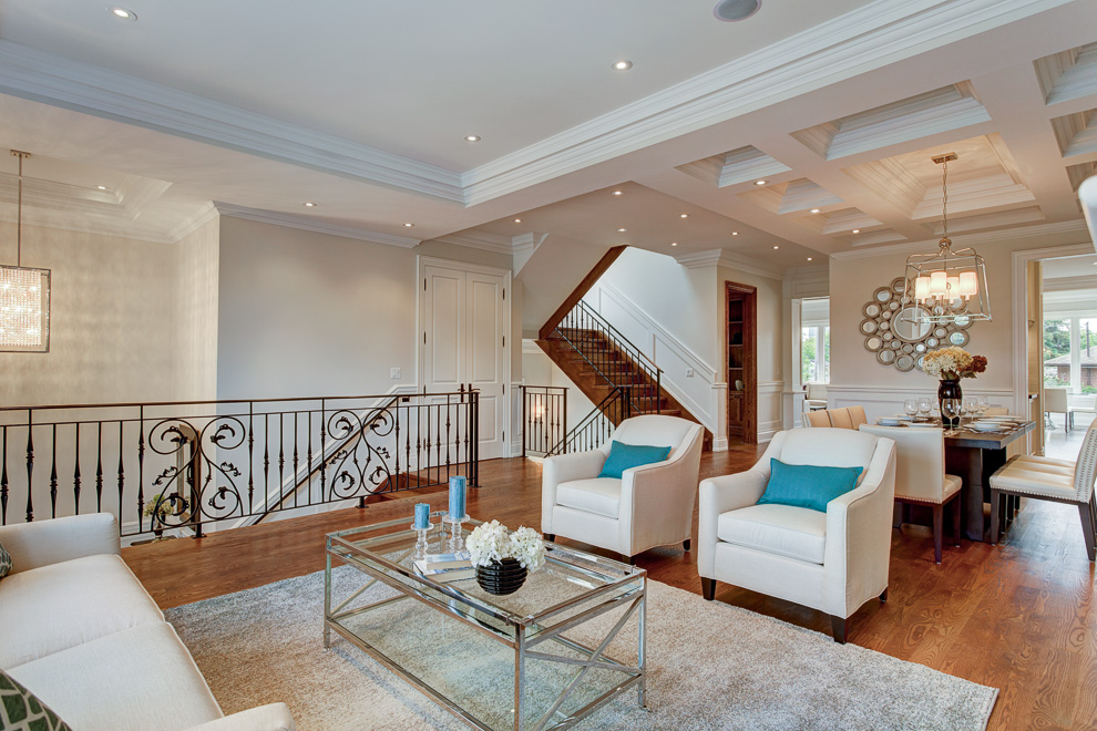 Living and dining rooms - transitional custom home