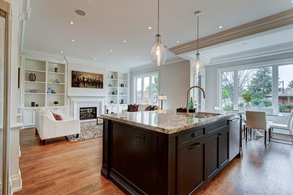 Kitchen and family room - transitional custom home
