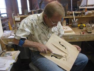 Bruce carving a top at his Logan,MT shop