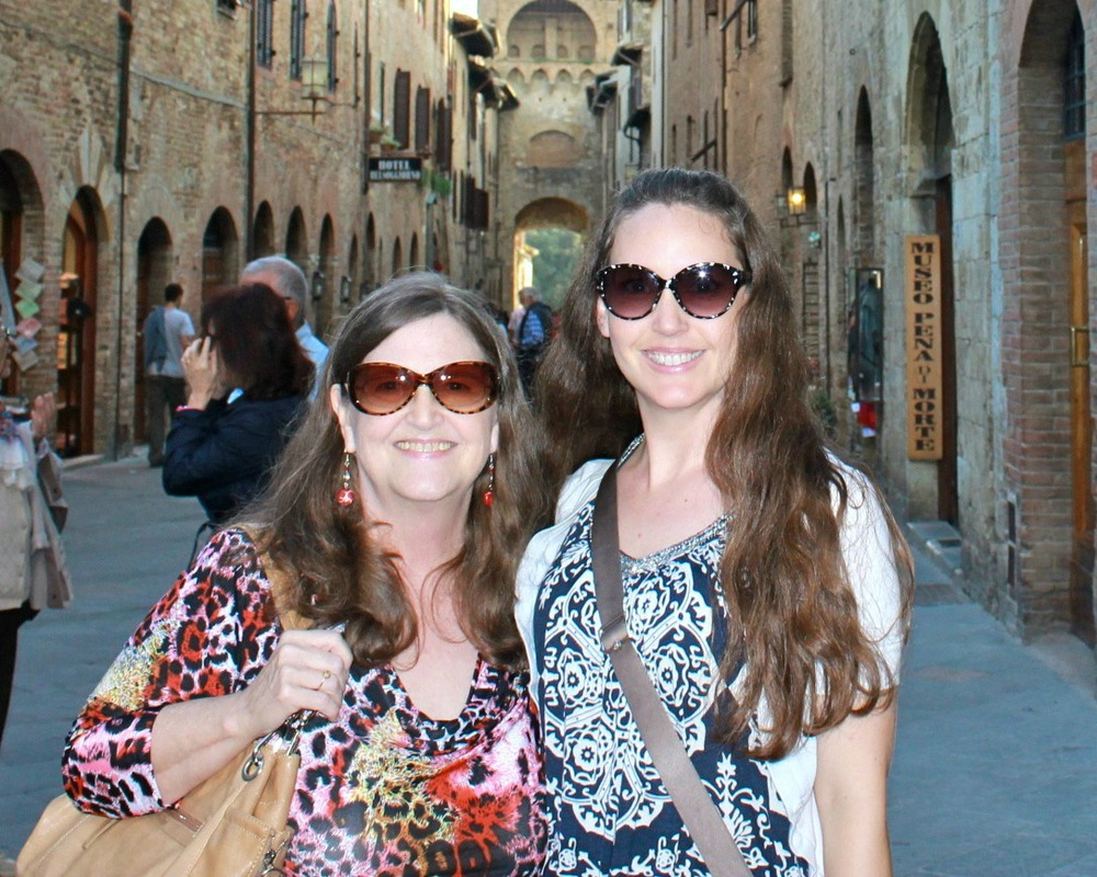 Toops and her Mom in Florence.
