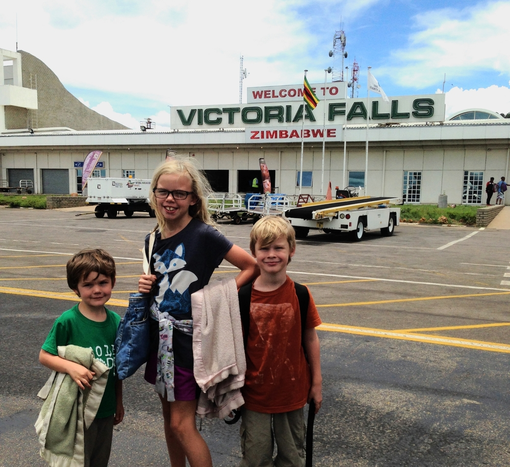Tatum and her brothers at the Victoria Falls airport.
