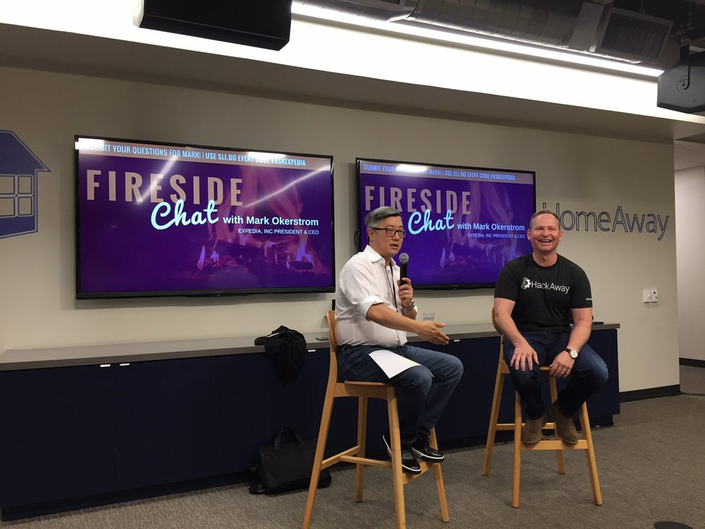 HomeAway President, John Kim, and Expedia Inc. CEO, Mark Okerstrom hosting their first Fireside Chat together in Austin.