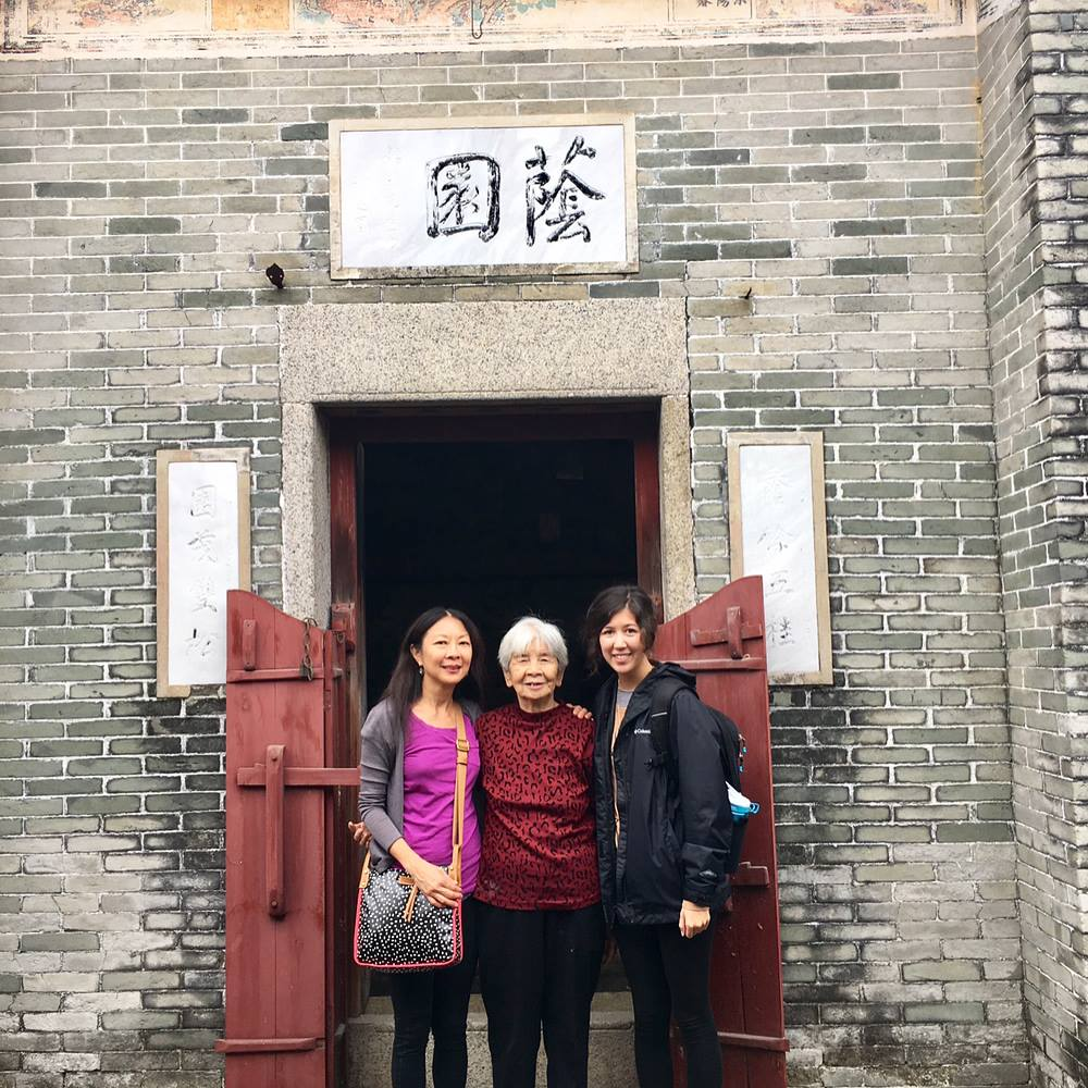My mom, our cousin, and I at our ancestral village in Kai Ping, China