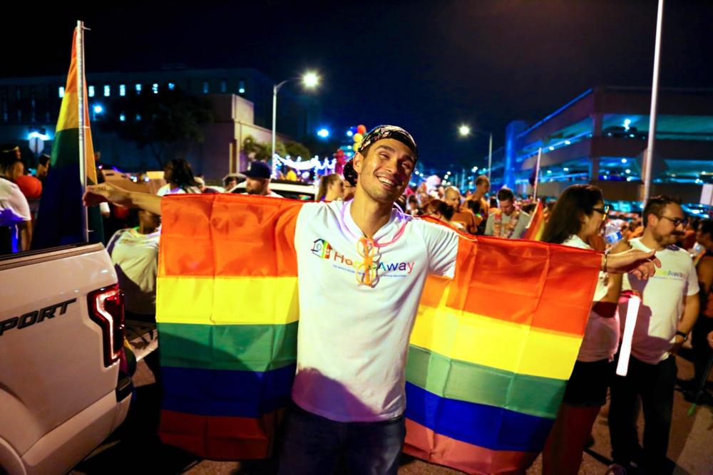 Celebrating at the 2017 Austin Pride parade.