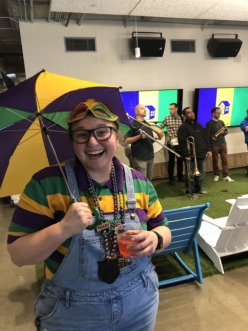 Meredith enjoying the Mardi Gras festivities at our office party in Austin.