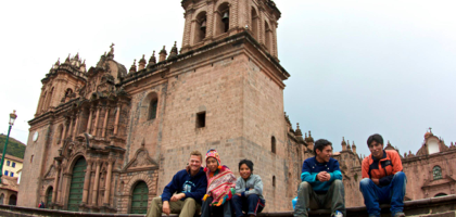 This is a photo with some local kids. Behind me is one of the most impressive cathedral complexes I've seen.