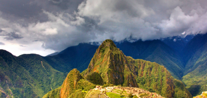 The majestic Machu Picchu between the earth and the clouds.