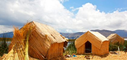 The reed huts on one of the floating islands.