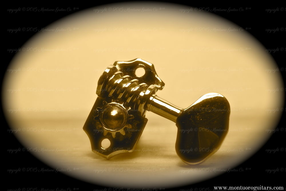 Montuoro Guitar Co. 1931 to 1935 Brass rivet tuning machine / copyright 2015 Montuoro Guitar Co.
