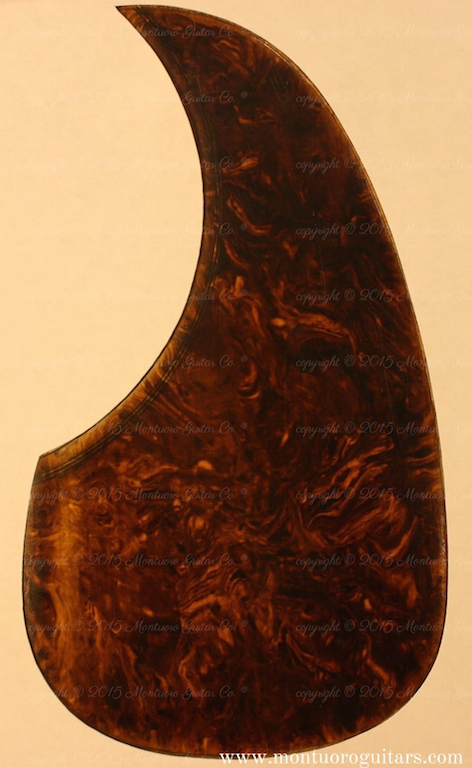 Montuoro Guitar Co. 1931 to 1935 Brown celluloid pickguard / copyright 2015 Montuoro Guitar Co.