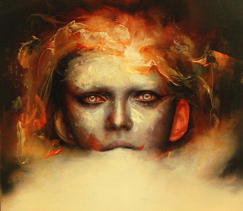 "Dan Quintana, 'Clouded II', 12"" x 12"", Oil on Wood"
