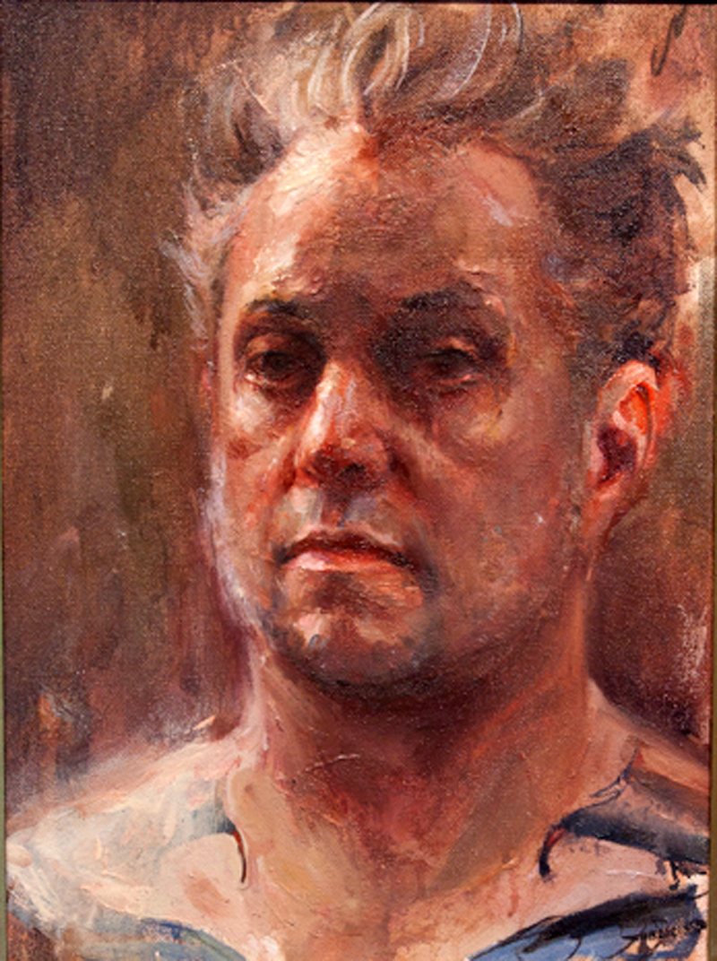 "Shawn Barber,'Self Portrait Study at 43',Oil on Wood, 11.5"" x 15.5"
