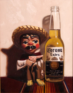 "Mat Hurtado, 'Pistolero', Oil on Wood, 8"" x 10"""