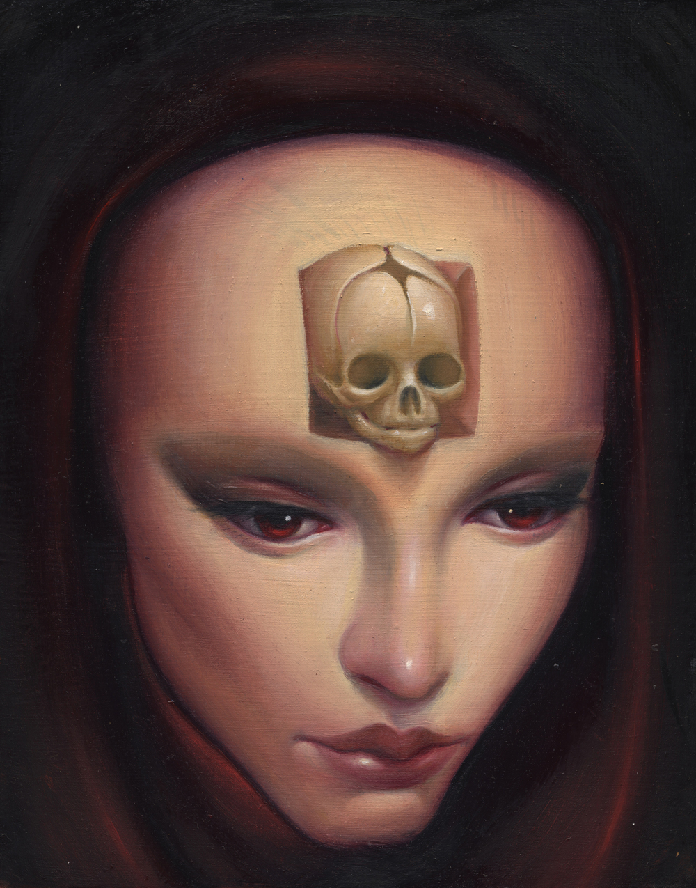"Steven Daily,'Born Again',Oil on Wood, 7.5"" x 9.5"""