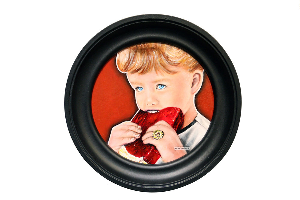 "Michael Mararian, 'Elsie(The Ironic Consumer)', Acrylic on Board, 7"" Diameter"