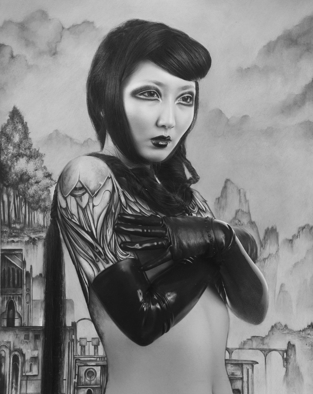 "Dan Quintana and Karen Hsiao, 'Alli', 22"" x 17"", Charcoal on Print Making Paper"