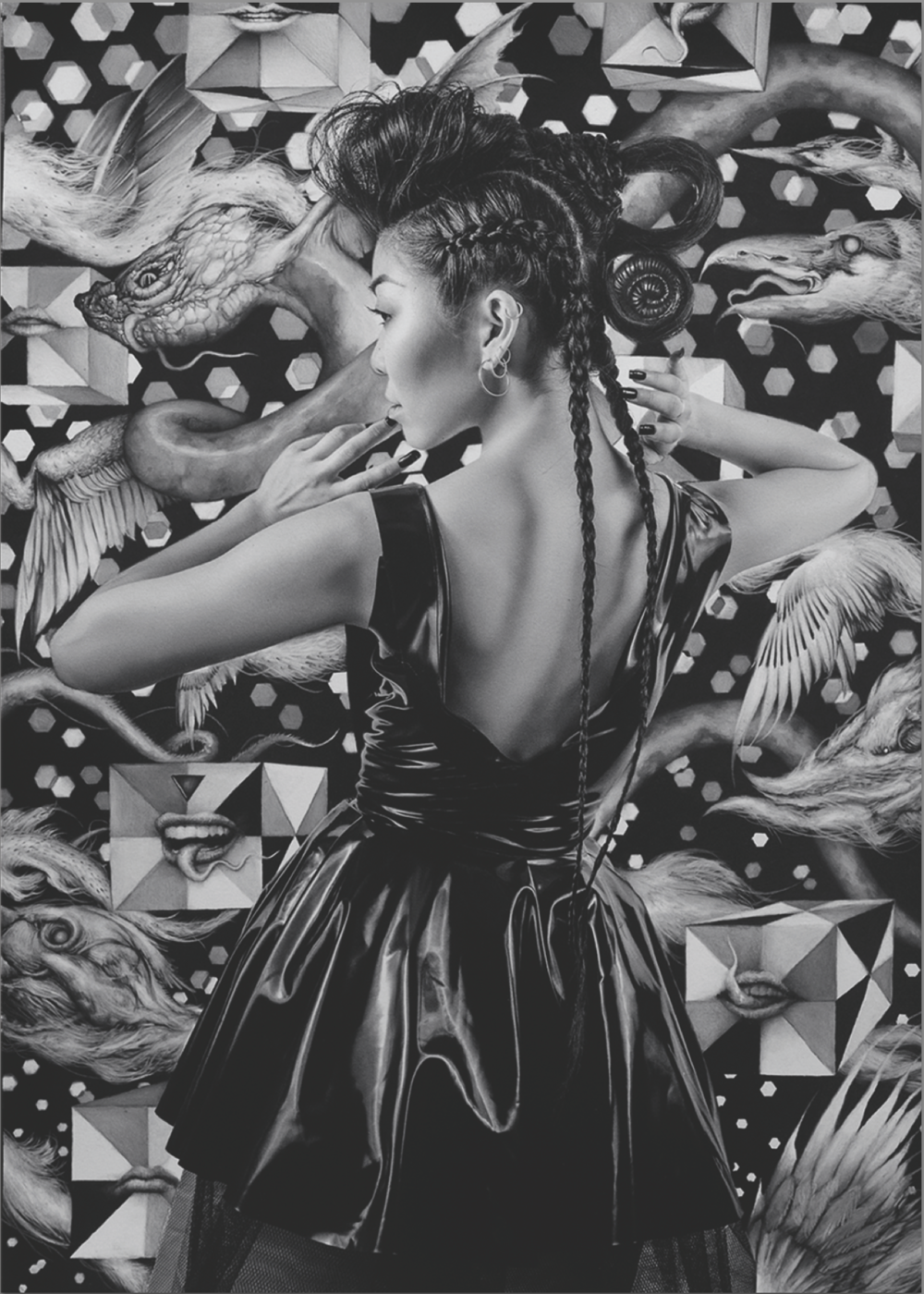 "Dan Quintana and Karen Hsiao, 'Stephanie', 22"" x 17"", Charcoal on Print Making Paper"