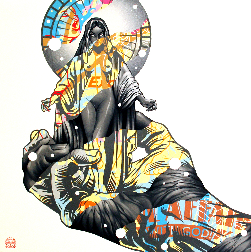 "Tristan Eaton, 'Love Affairs with God', Acrylic, Spray Paint on Wood, 18"" x 18"""