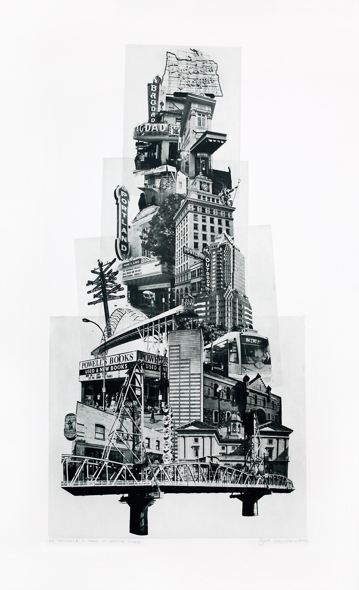 "Beth Kerschen, ""Portlandia: 'Tower of Creative Power',Photographic Etching (Polymer Photogravure)', 31"" x 20"""
