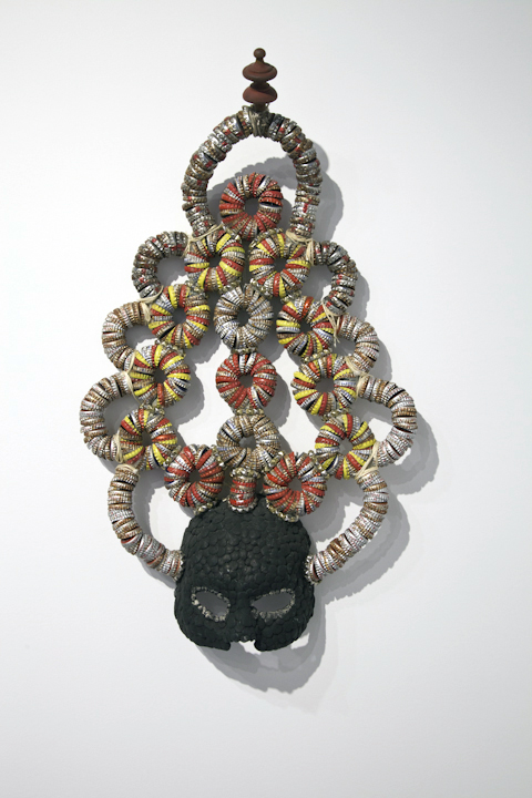 "Lucien Shapiro, 'The Fallen Temple Mask', Bottle Caps, Glue, Pyramid Studs, Wire, 29"" x 19"" x 10"""