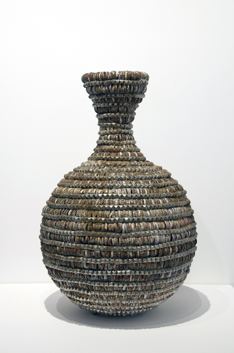 "Lucien, 'Rusted Vessel One', 1,000 Bottle Caps, Glue, Pyramid Studs, Wire, 29"" x 19"" x 10"""