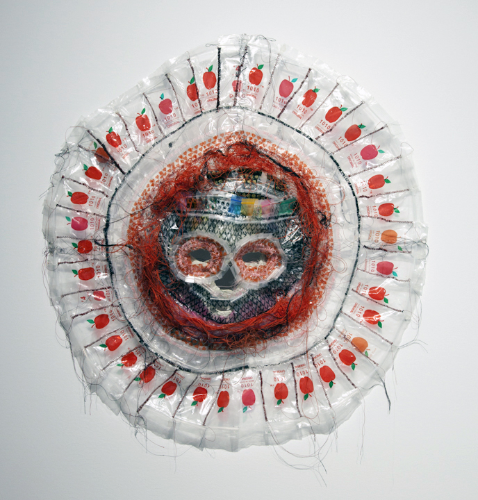 "Lucien Shapiro, 'Plastic Apples Death Mask', Baggies,Glue, String, 28"" x 19"" x 9"""