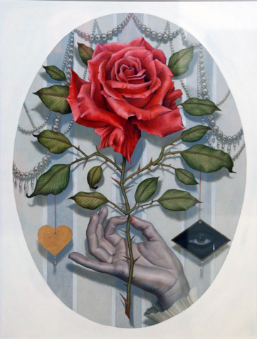 "Alex Garcia, 'Blood Rose', Oil on Mansonite, 15.5"" x 19"""