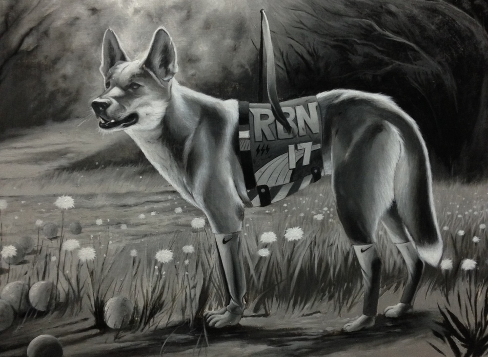 "Jeff McMillan, 'Winston Legthigh- APrigus Dog', Oil on Wood, 20"" x 30"""