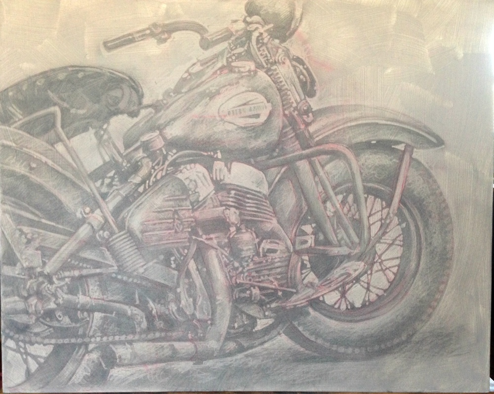 "Bryan Bancroft, 'Harley Davidson', Oil on Wood,24"" x 30"""