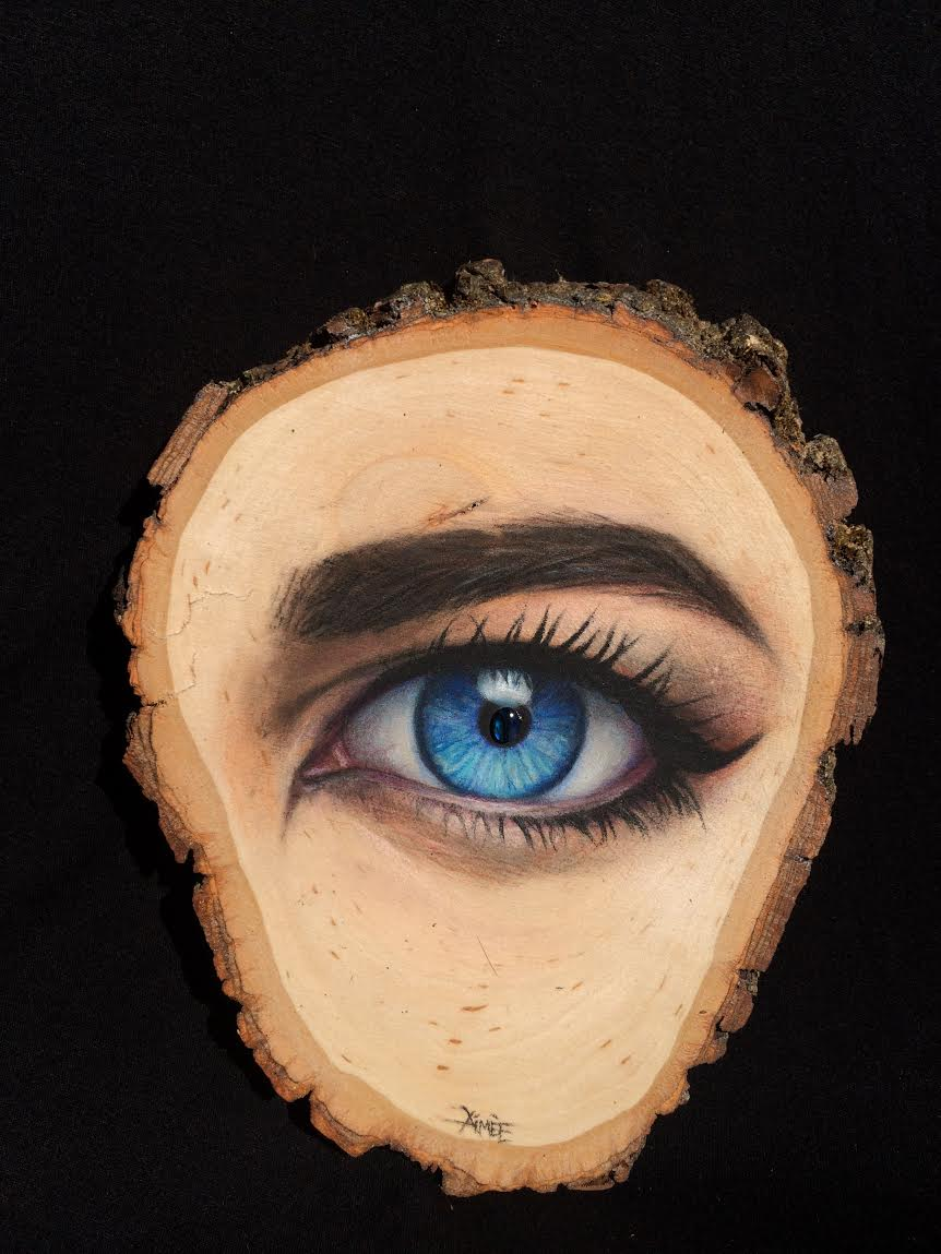 "Aimee Kuester, 'Hindsight', Chracoal and Pastel on Wood, 11"" x 16"""