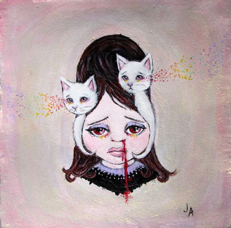 "Jessicka Addams, 'White Worry', Acrylic on Watercolor Paper, 8"" x 8"""