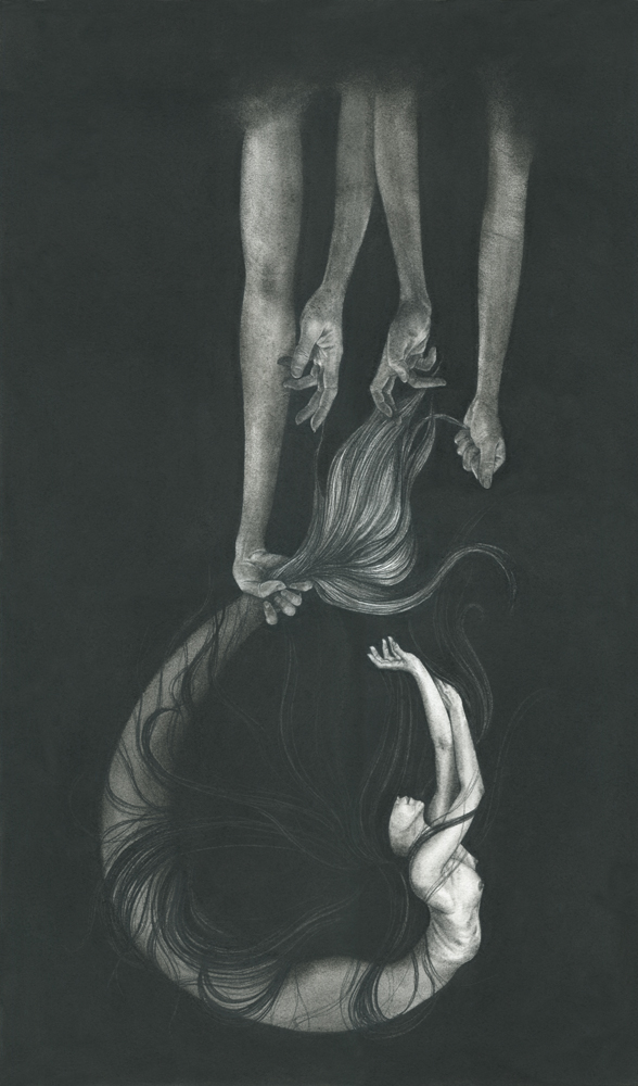 "Stephanie Inagaki, The Dream Cycle', Charcoal on Rives BFK, 15"" x 25"""