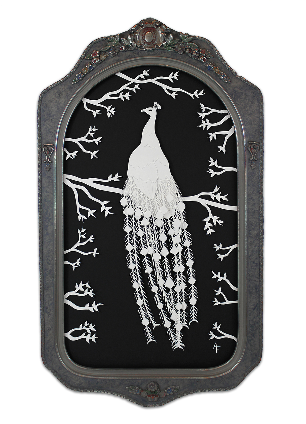 "Ashley Fisher, 'Pavo Cristatus', Paper Cut Out In Antique Frame, 10.5"" x 18.5"""