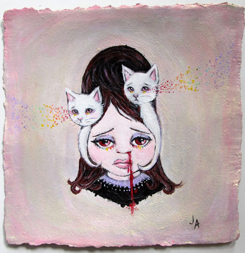 "Jessicka Addams, 'Childhood Telepathy', Acrylic on Watercolor Paper,11"" x 11"""