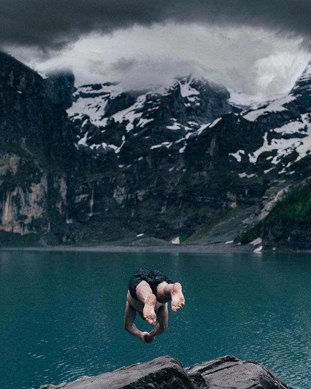 Dive into blue. On an adventure in the incredible Swiss mountains with @wearesungod the lake was as cold as it looks! #dive #lake #switzerland #adventure #landscape #storm #action #swimming #wildswimming #explore #sungod #adventureproof #mountains #cold