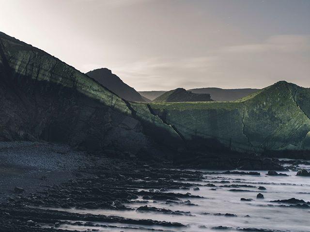 Exploring the North Devon coast by moonlight, on a last minute recce for a shoot the next day. #devon #landscape #night #photographer #film #moonlight #sea #ocean #surf #rocks #uk #croyde #hartlandpoint #explore #shoot #recce