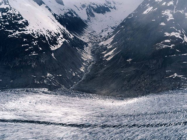 From the summit of Eggishorn in Switzerland, staring down at the glacier below you could sit for hours picking out details in the blue and grey tones. #landscape #glacier #switzerland #shoot #mountains #view #adventure #adventureproof #advertising #alps #snow #ski #explore
