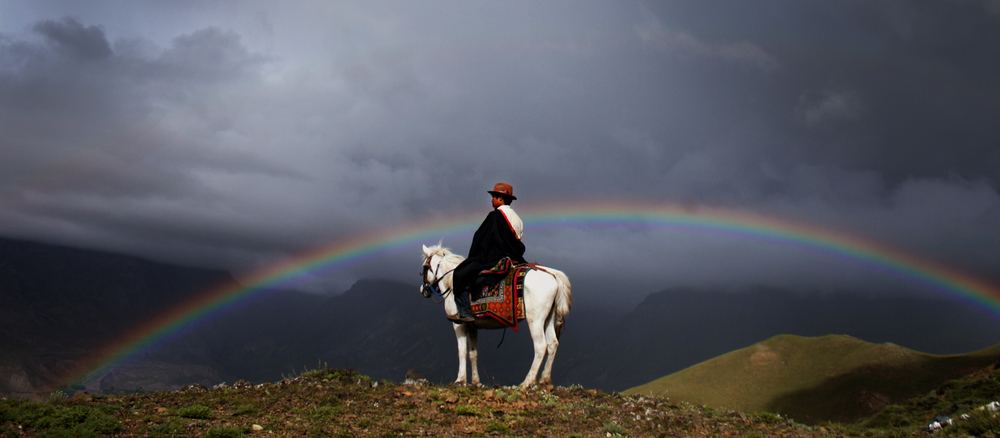 Chhawang Namgyal Gurung on his horse in Mustang, Nepal. Photo: Rajan Kathet