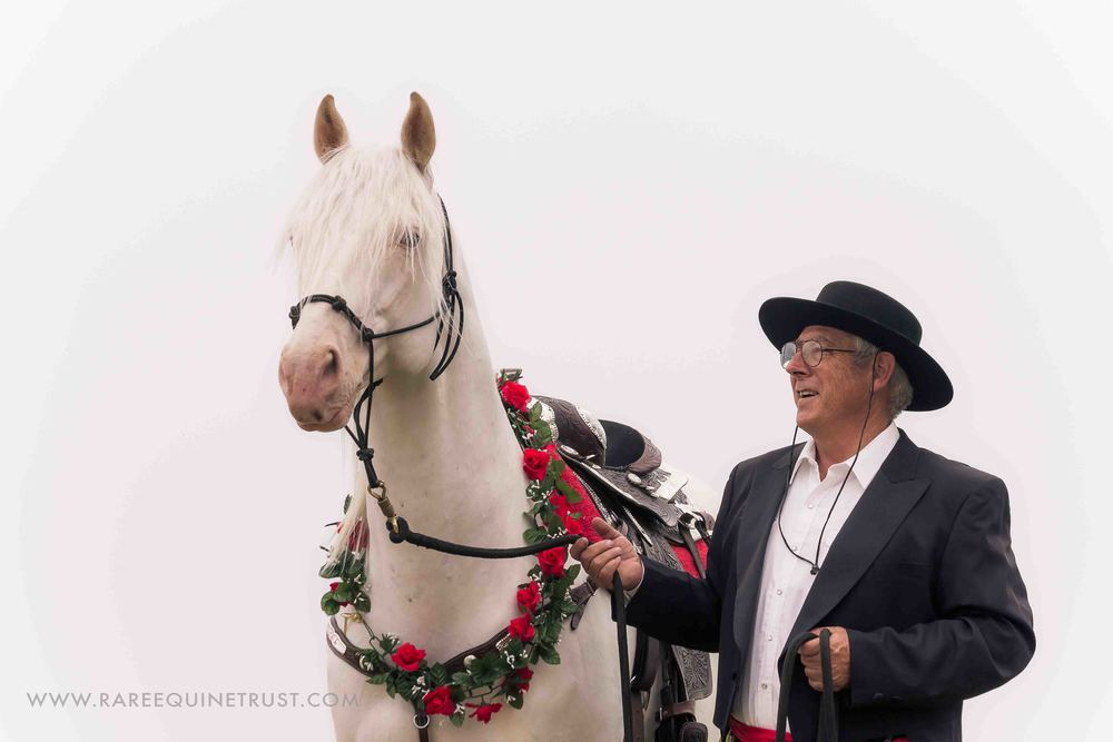Adolfo Camarillo Great-grandson Harold Parker and his Camarillo White Horse stallion El Patron.