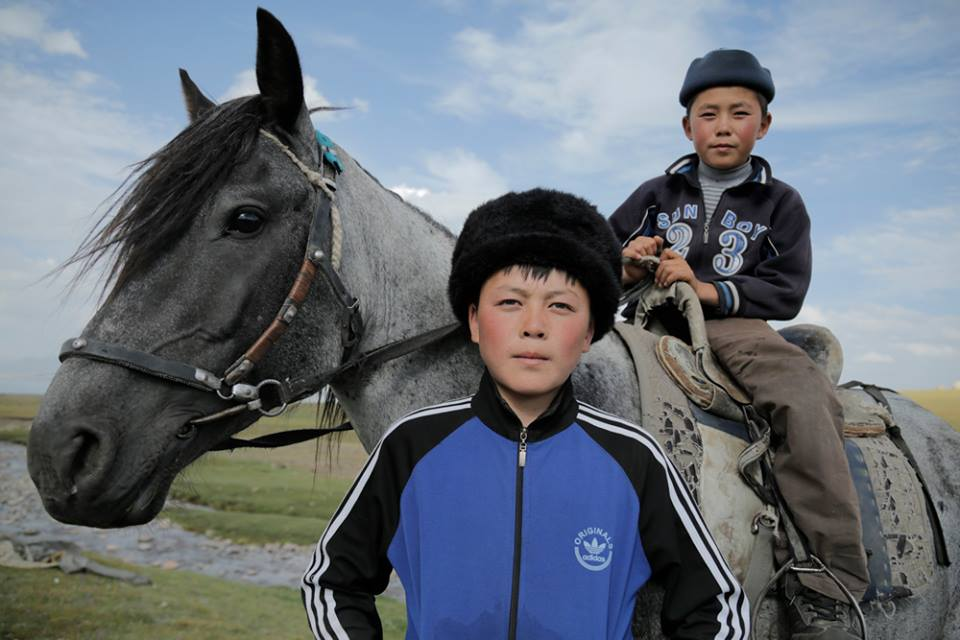 Young Kyrgyz horseman on the plains.