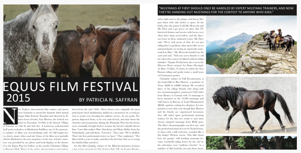 EQUUS FILM FESTIVAL 2015: By Patricia Saffran